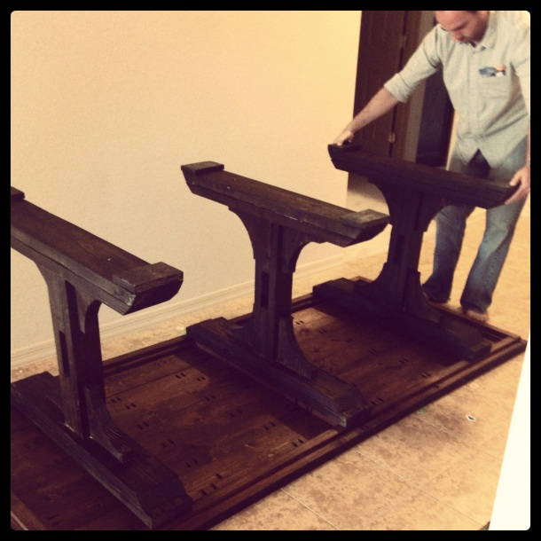 Once everything was stained and poly'd, we moved it inside to attach the legs to the tabletop.